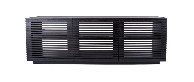 Linear Trio Large AV Cabinet in black wood finish, with three compartments and an open-back design on white background