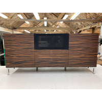 Bespoke Large Hi-fi & AV Cabinet in Macassar Ebony with Speaker Grill