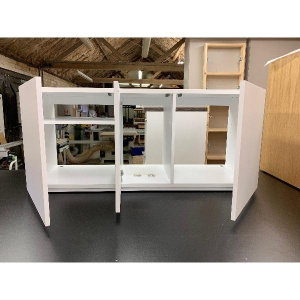 Gravity Trio Large AV Cabinet in white wood with open doors  - Audinni