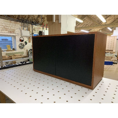 Gravity Duo Large AV Cabinet with 2 doors in dark wood - Audinni