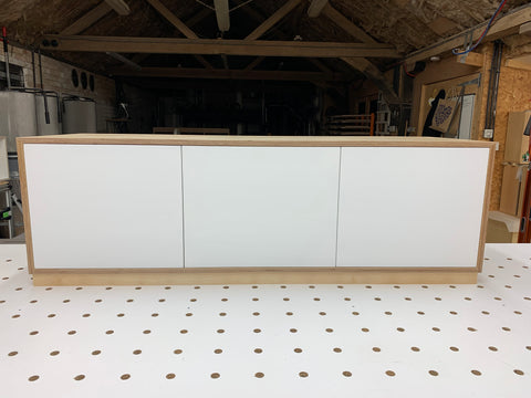 Edge Trio Large AV Cabinet with white 3 cabinet doors