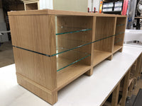 Bespoke SUPERSTAX wood in Oak with clear adjustable glass shelves