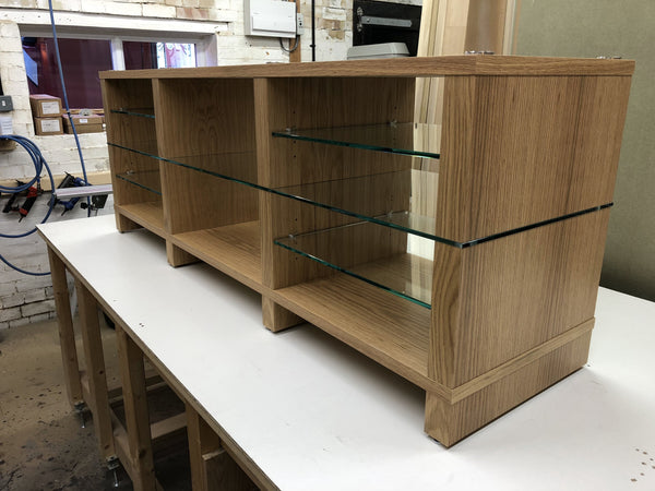 Bespoke SUPERSTAX wood in Oak with clear glass shelves