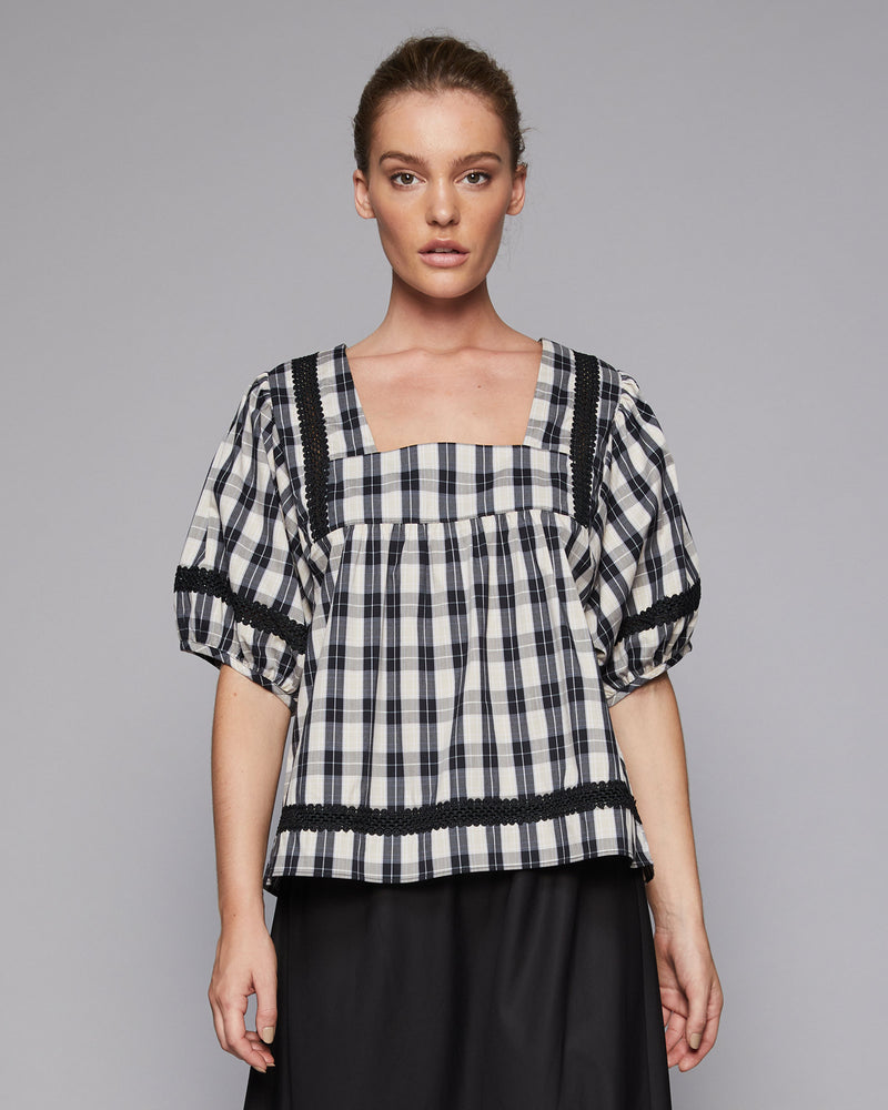 spark top - beige/black check
