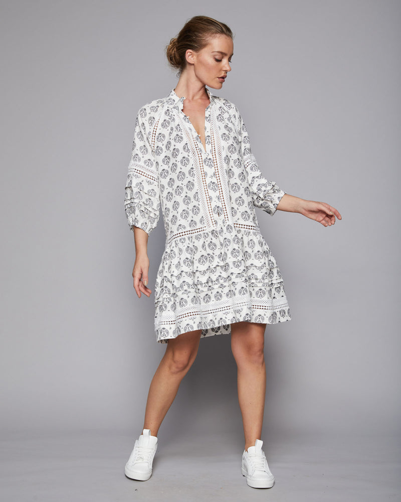 mingle dress - white & black paisley
