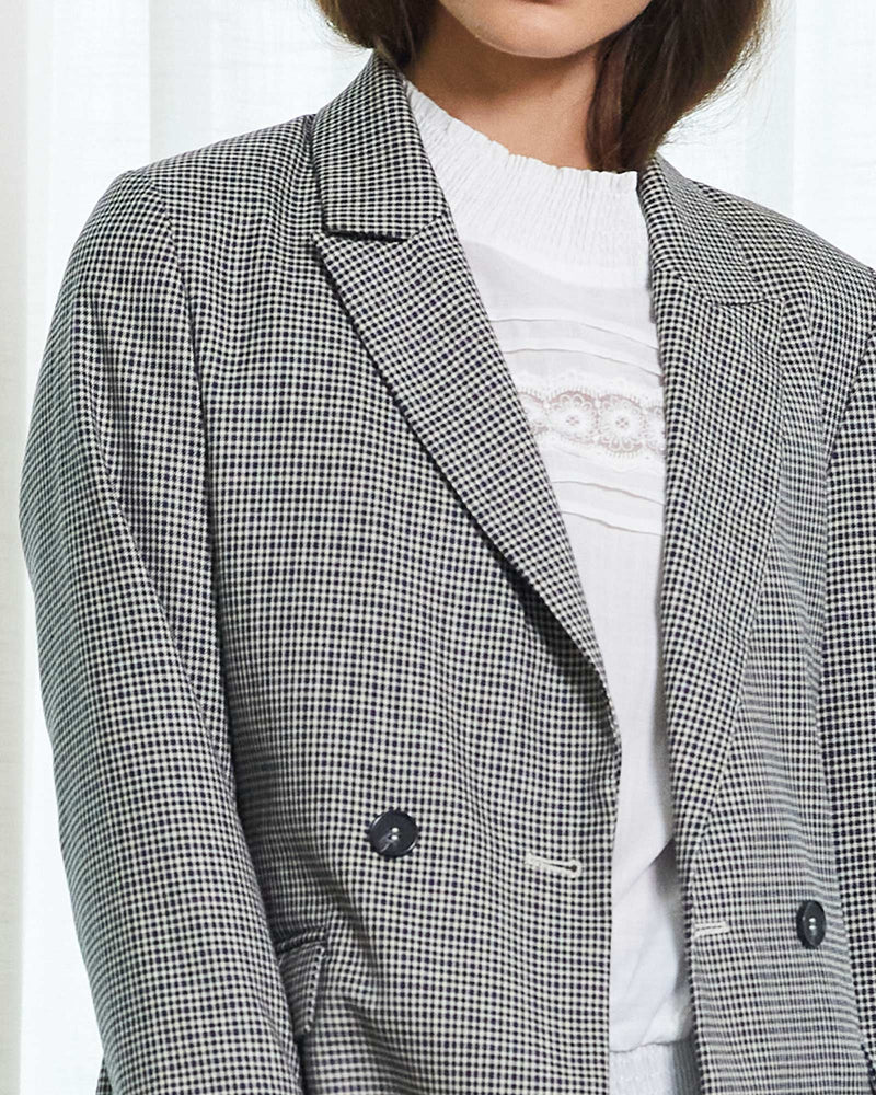 tangent jacket - black/blue check