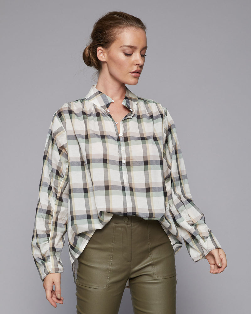 infuse top - khaki check