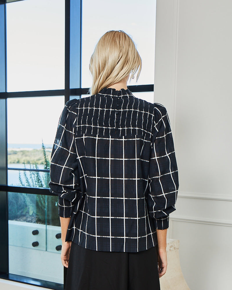 muse top - black & white check