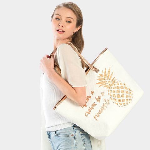 PINEAPPLE PRINT BEACH TOTE BAG-ROSE GOLD