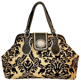 RAVIANI DAMASK TRAVEL BAG WITH CRYSTALS PURSE
