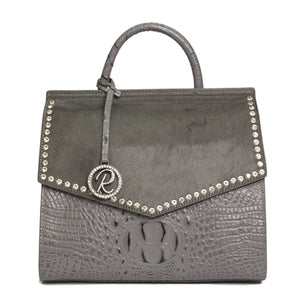 GRAY SATCHEL WITH CRYSTALS ON THE FLAP PURSE