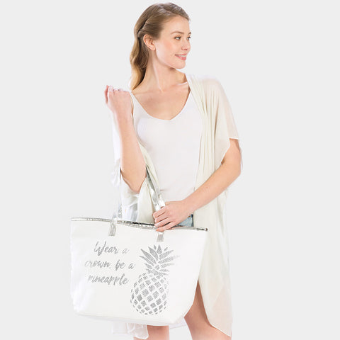 PINEAPPLE PRINT BEACH TOTE BAG-SILVER