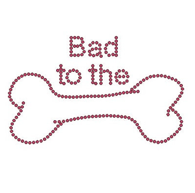 BANDANA WITH BAD TO THE BONE RHINESTONE DESIGN IN PINK CRYSTALS