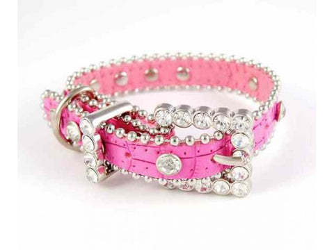 "15"" PINK LEATHER CLEAR CRYSTAL STUDDED DOG COLLAR BONE CHARM"