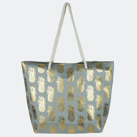 METALLIC PINEAPPLE PATTERN BEACH BAG-GRAY