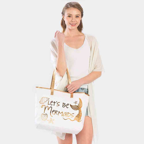 LETS BE MERMAIDS TOTE BAG-ROSE GOLD