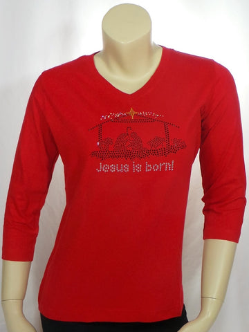 Small Jesus is Born Red 3/4 Length Sleeve V-Neck Tee