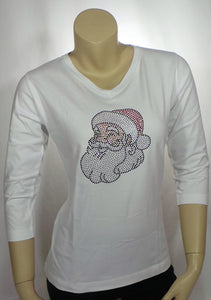 Small Santa White 3/4 Length Tee