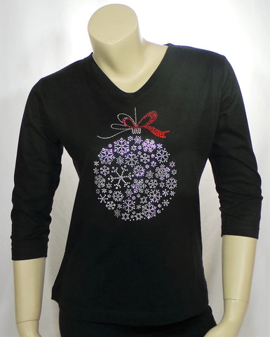 Small Snowflake Ornament Black 3/4 Length Tee