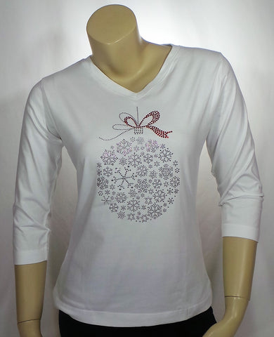 Small Snowflake Ornament White 3/4 Length Tee