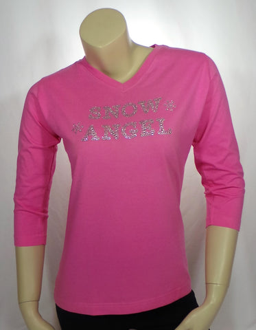 Medium Snow Angel Pink 3/4 Length Tee