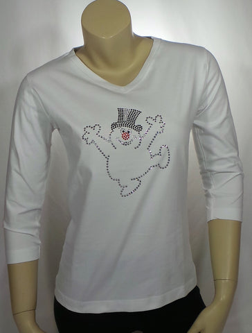 Frosty Snowman White 3/4 Length Sleeve Tee (Multiple Sizes)