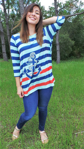 BOATING ANCHOR 3/4 SLEEVE TOP