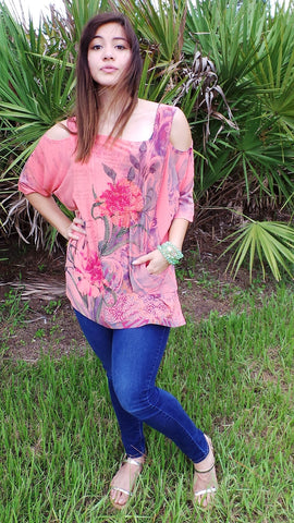 CORAL COLD SHOULDER FLOWER TOP