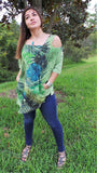 GREEN COLD SHOULDER TOP WITH BLUE FLOWERS
