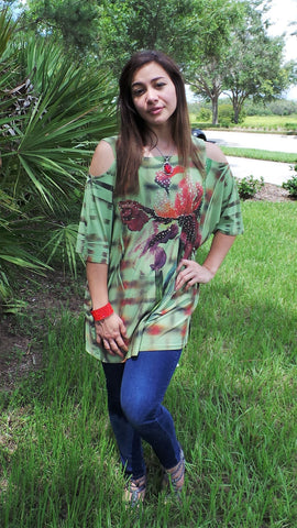 GREEN COLD SHOULDER TOP WITH RED FLOWERS
