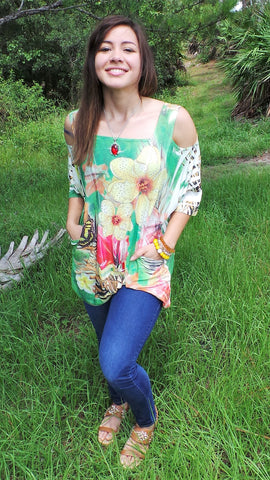 BUTTERFLY COLD SHOULDER FLOWER TOP