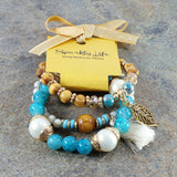 TURQUOISE WOMEN'S CRYSTAL STACKABLE STRETCHY BRACELET
