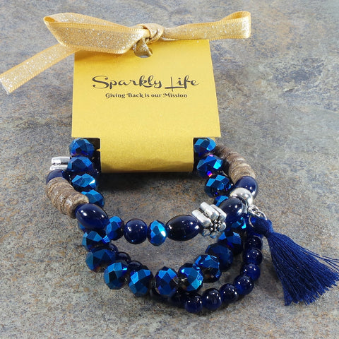 METALLIC BLUE  WOMEN'S CRYSTAL STACKABLE STRETCHY BRACELET