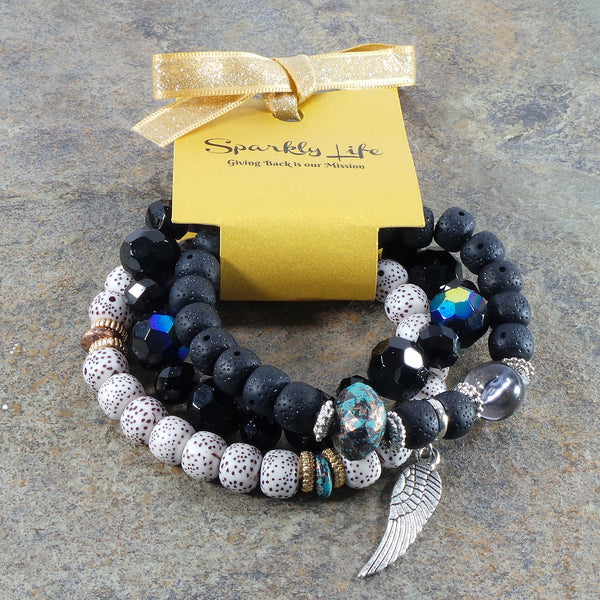 BLACK IRIDESCENT WING WOMEN'S CRYSTAL STACKABLE STRETCHY BRACELET