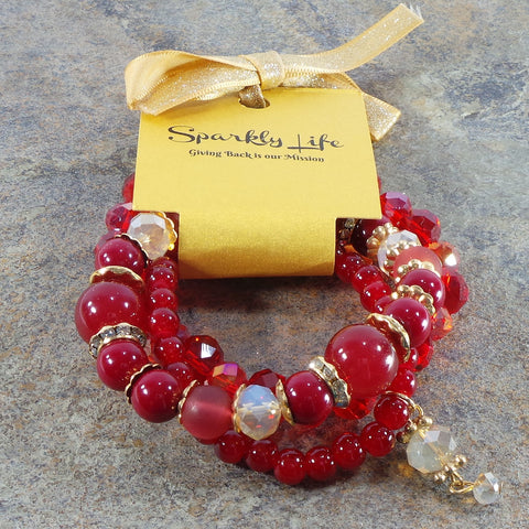 RED WOMEN'S CRYSTAL STACKABLE STRETCHY BRACELET