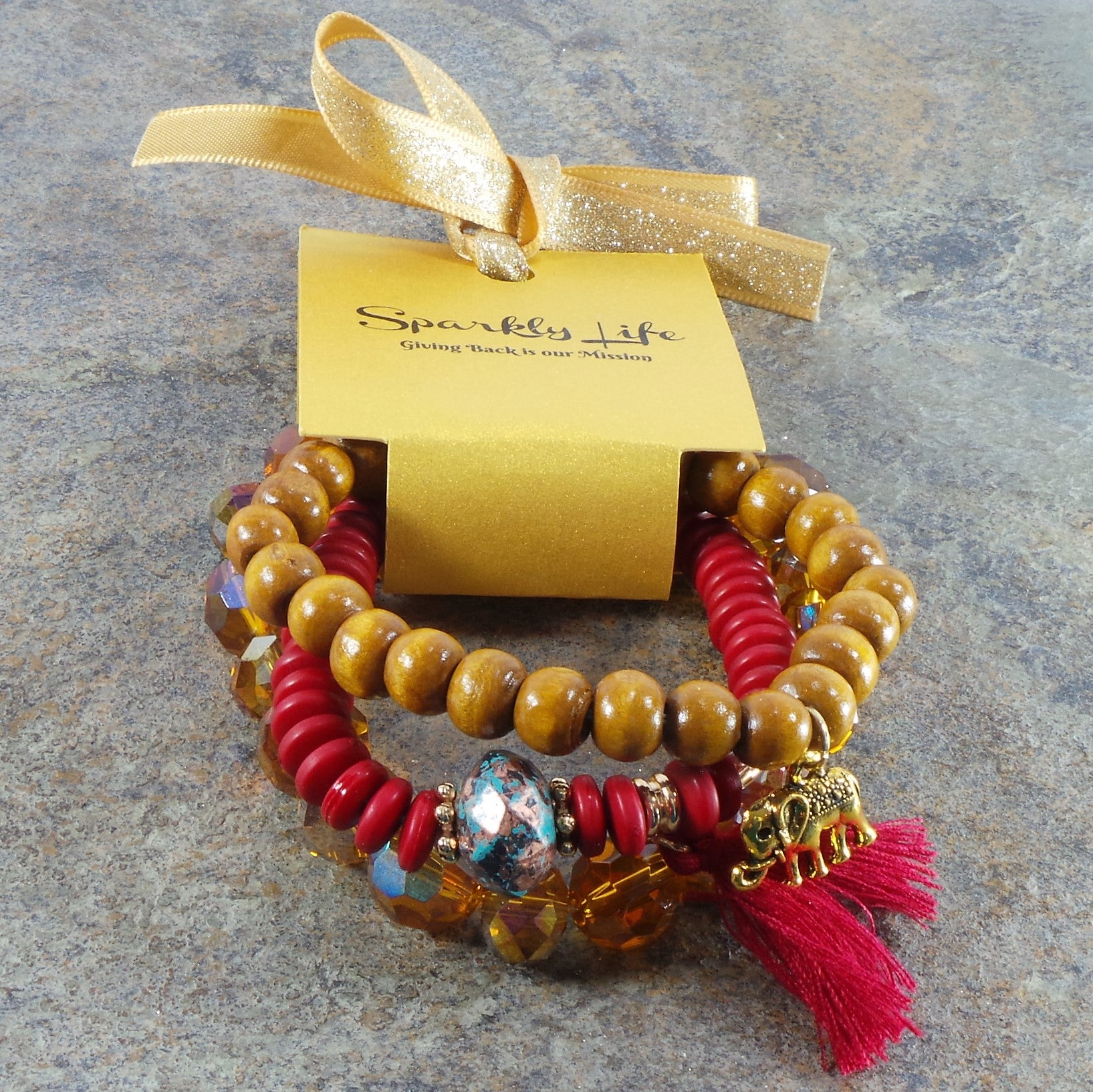 RED WOODEN ELEPHANT WOMEN'S CRYSTAL STACKABLE STRETCHY BRACELET