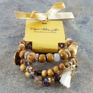 WOODEN WOMEN'S PURPLE AND TAN CRYSTAL STACKABLE STRETCHY BRACELET