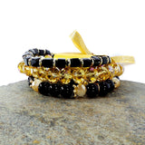 BLACK AND GOLD WOMEN'S CRYSTAL STACKABLE STRETCHY BRACELET