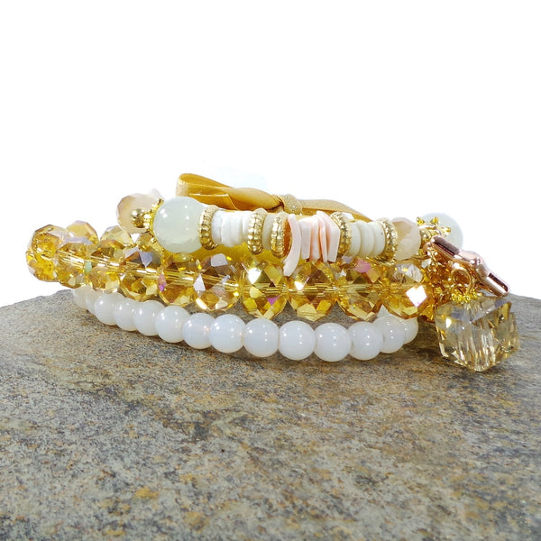 WHITE BEADED STAR CUBE WOMEN'S CRYSTAL STACKABLE STRETCHY BRACELET