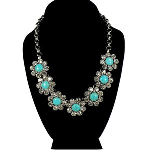 Turquoise Crystal Flower Necklace