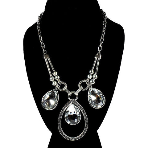 Silver 3 Crystal Teardrop Necklace