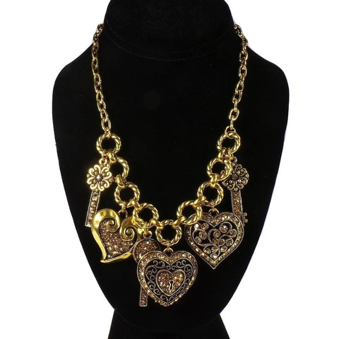 Gold Heart Lock and Key Necklace