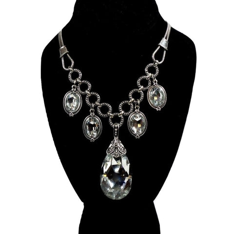 Silver Crystal Teardrop Necklace