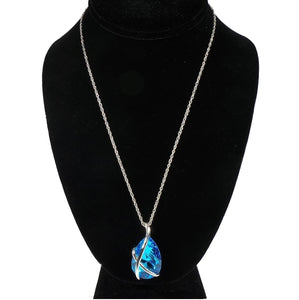 Turquoise Crystal Silver Ornament Necklace