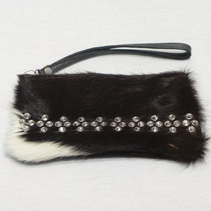 COWHIDE LEATHER WRISTLET WITH CLEAR CRYSTALS
