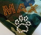 BANDANA CUSTOMIZED WITH NAME OR WORDS IN RHINESTONES