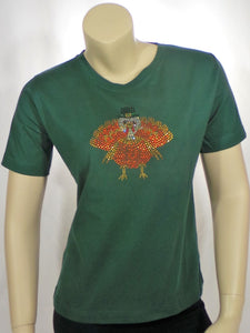 Small Green Turkey Round Neck Short Sleeve Tee