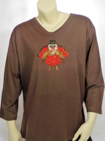 Extra Large Brown Turkey 3/4 Length Sleeve Tee