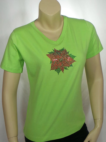Small Poinsettia Lime Green V-Neck Short Sleeve Tee
