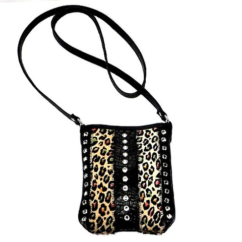 MULTICOLORED CHEETAH COWHIDE AND LEATHER SHOULDER BAG WITH CRYSTALS PURSE